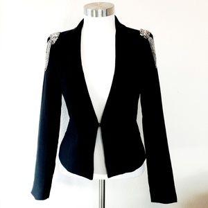 Drole de copine Black Blazer Jacket Beaded Accents